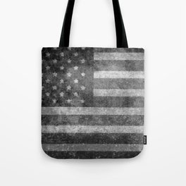 US flag, Old Glory in black & white Tote Bag