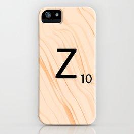 Scrabble Letter Z - Scrabble Art and Apparel iPhone Case