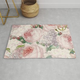 Vintage Roses and Lilacs Pattern - Smelling Dreams Rug