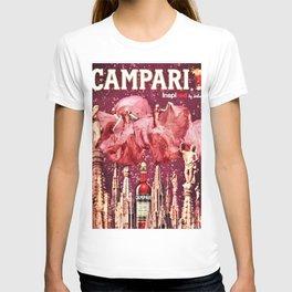 Vintage Cordial Bitter Campari Pink Deco Advertisement Print T-shirt