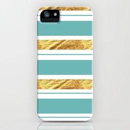 Gold and Aqua Blue Stripes iPhone Case