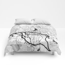 Hamburg City Map Gray Comforters
