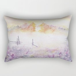 Early Morning Mist Watercolor Painting Rectangular Pillow