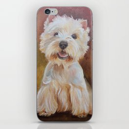 White Terrier Westie Dog portrait Oil painting on canvas Decor for Pet Lover iPhone Skin
