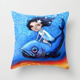 Fishing Girls Throw Pillow