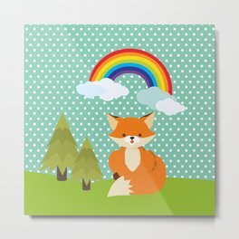 Fox, Rainbow , nursery decor , children gift, birthday gift Metal Print