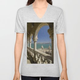 The Torre de Belem tower, view through arches to the river Tejo, Lisbon, Portugal Unisex V-Neck