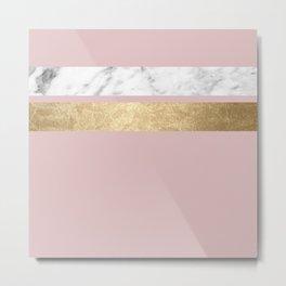 Dusky rose golden marble Metal Print