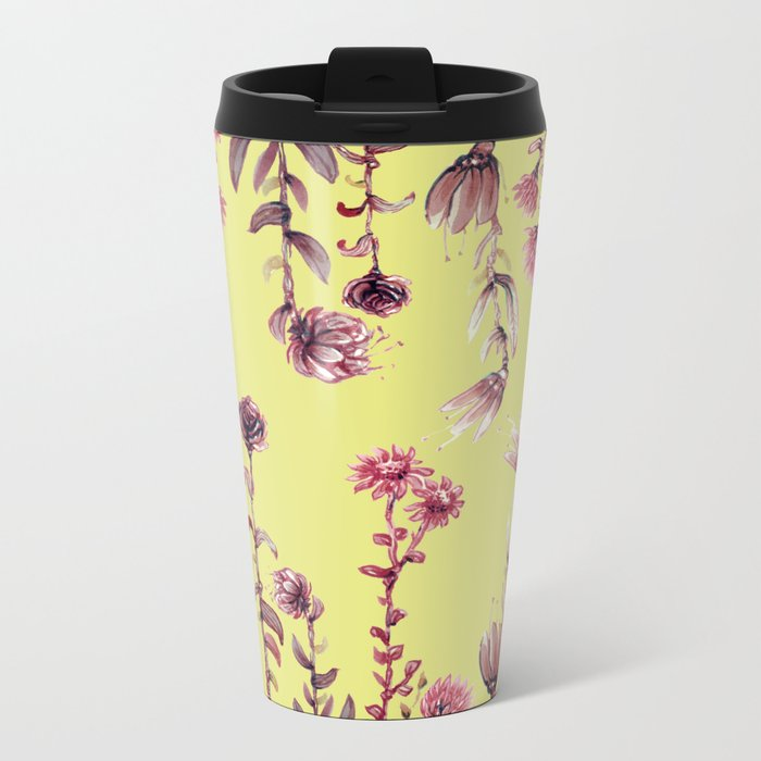 pink water color Garden Metal Travel Mug