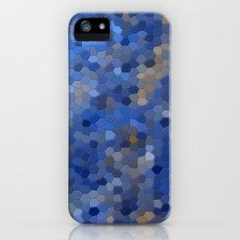 Blue mosaic tile abstract iPhone Case