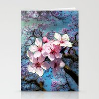 cherry blossoms Stationery Cards featuring Cherry Blossoms by Just Kidding