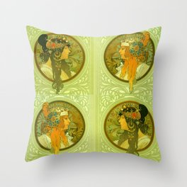 """Alphonse Mucha """"Byzantine Heads: The Blonde and The Brunette"""" Throw Pillow"""