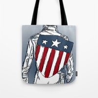 chris evans Tote Bags featuring Captain America (Chris Evans) by  Steve Wade ( Swade)