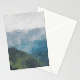 Abstract Painting, Gray, Blue, Navy, and Green Nature Mountain Hiking Print, Modern Wall Art Decor Stationery Cards