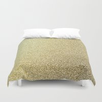gold glitter Duvet Covers featuring gold glitter by lamottedesign