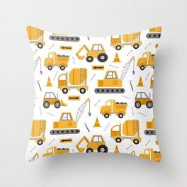 Construction Trucks Throw Pillow