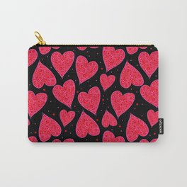 Valentine Hearts Black Background Carry-All Pouch