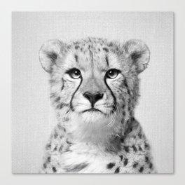 Cheetah - Black & White Canvas Print