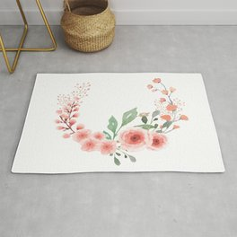 Leaves and Fresh Roses Open Wreath Rug