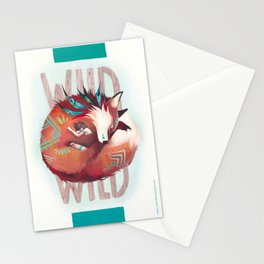 Wild - fox and girl sleeping together Stationery Cards