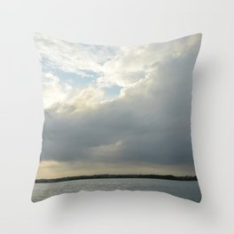 clouds over the mainland Throw Pillow