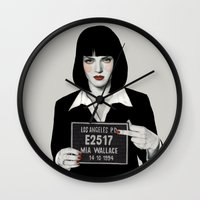 mia wallace Wall Clocks featuring Mia by Sofia Bonati