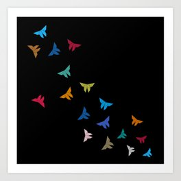 Flying Origami Butterflies Art Print
