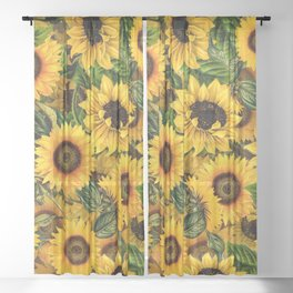 Vintage & Shabby Chic - Noon Sunflowers Garden Sheer Curtain