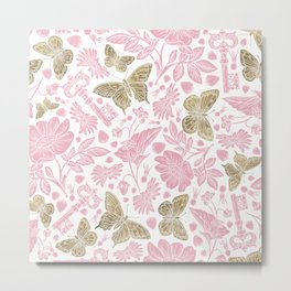 Elegant Rosewater Pink Gold Butterfly Floral Pattern Metal Print