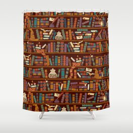 Bookshelf Shower Curtain