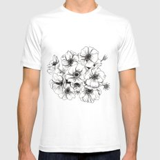 Anemones Bouquet Mens Fitted Tee White MEDIUM