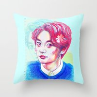 shinee Throw Pillows featuring SHINee Minho by sophillustration