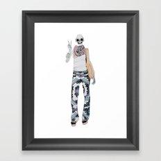 peace sign skeleton Framed Art Print
