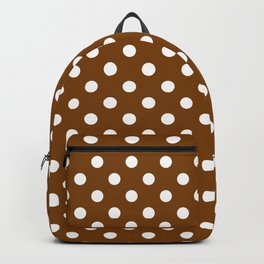 Small Polka Dots - White on Chocolate Brown Backpack