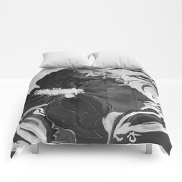 Black and White of Birthday Acrylic Blue Orange Hibiscus Flower Painting with Red and Green Leaves Comforters