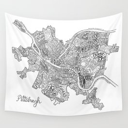Pittsburgh Neighborhoods - black and white Wall Tapestry
