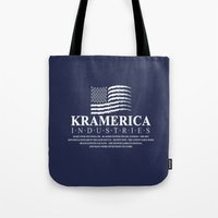 seinfeld Tote Bags featuring Kramerica - Seinfeld by Donutwrangler