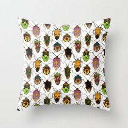 Shield bug pattern Throw Pillow