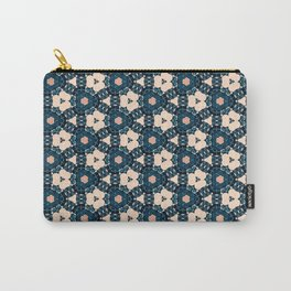 Geometrical Dark Blue delicate Flower design Carry-All Pouch