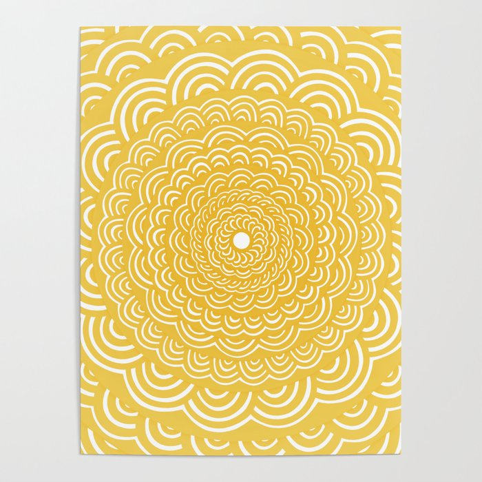 Spiral Mandala (Yellow Golden) Curve Round Rainbow Pattern Unique Minimalistic Vintage Zentangle Poster