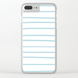 VA Healing Aire Blue - Angelic Blue - Soothing Blue Hand Drawn Horizontal Lines on White Clear iPhone Case