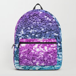 Bright Blue Purple Glitters Sparkling Pretty Chic Bling Background Backpack