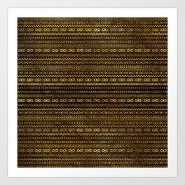 Golden Tribal Pattern on Dark wood Art Print