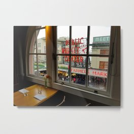 Dinner View of Pike Place Market Metal Print