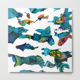 Camouflage Water World Metal Print