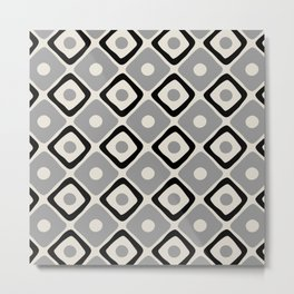 Mid Century Modern Diamond Dot Pattern 442 Black and Gray Metal Print