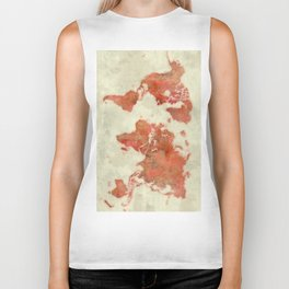 World Map Red Biker Tank