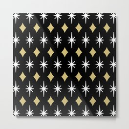 Mid Century Modern Diamond and Star Pattern 833 Metal Print