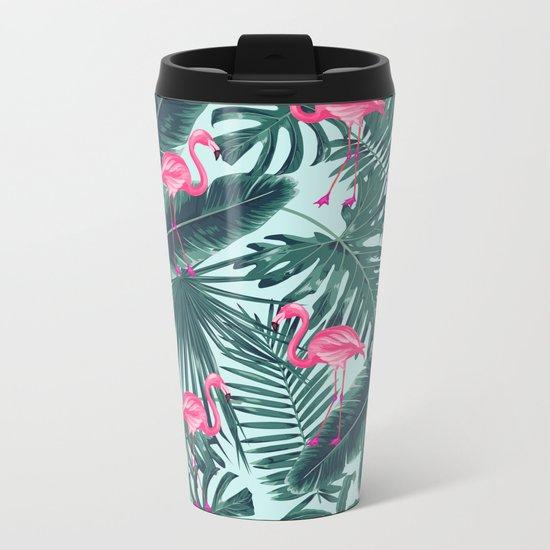 tropical pink flamingo Metal Travel Mug