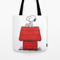 snoopy Tote Bags featuring Snoopy by Simple Touch Apparel